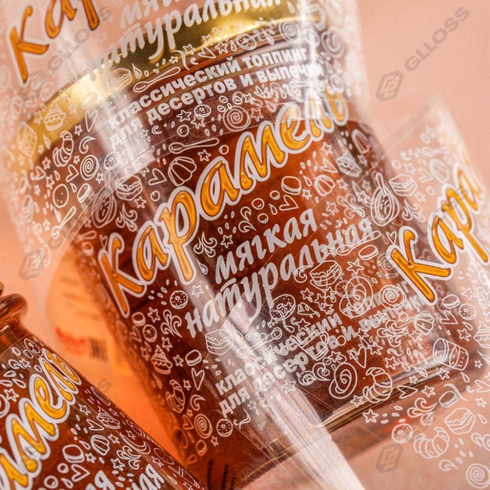 Этикетки на прозрачной пленке на топпинг для десертов для компании «С. Пудовъ»