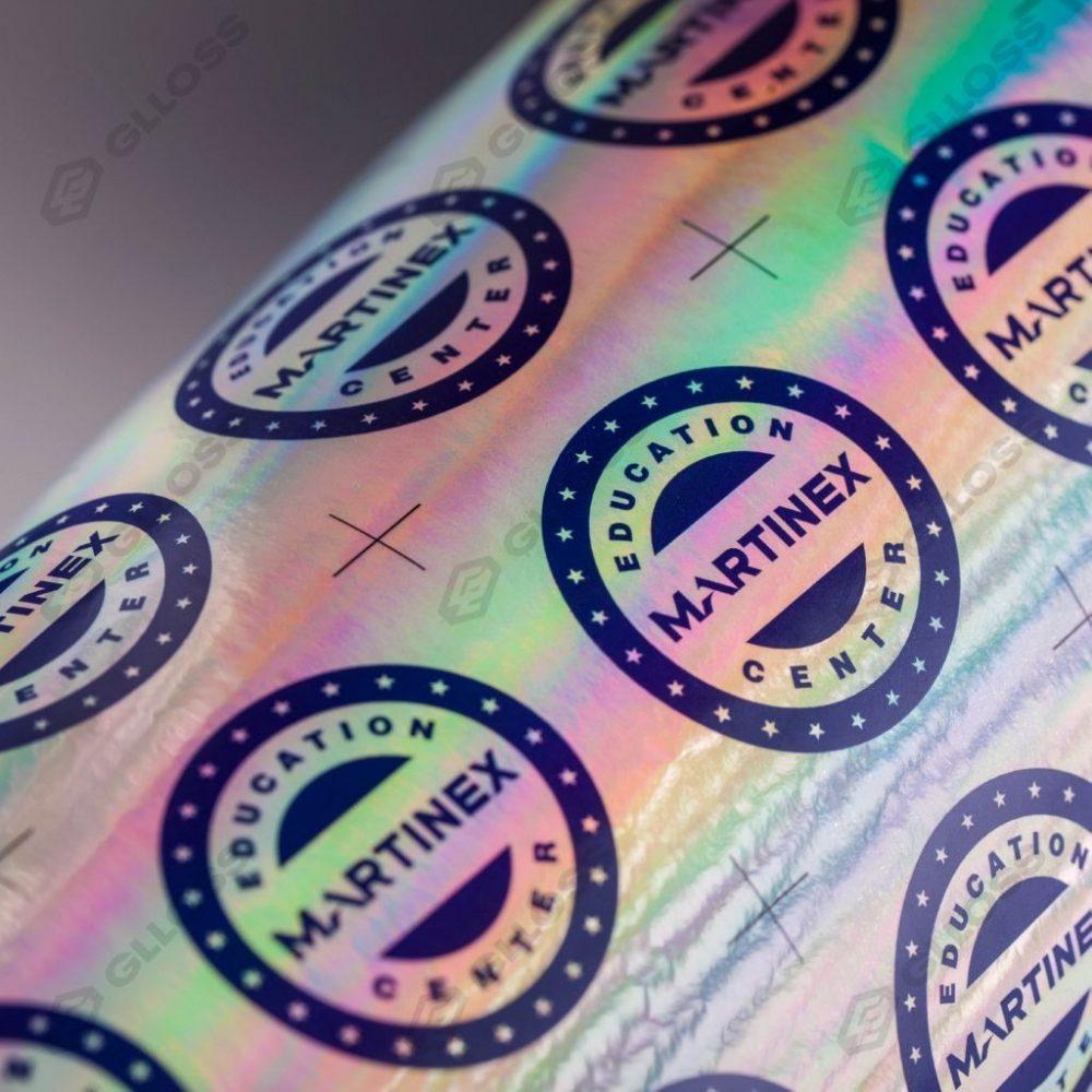 Цветопроба имиджевых стикеров с логотипом для учебного центра компании MARTINEX