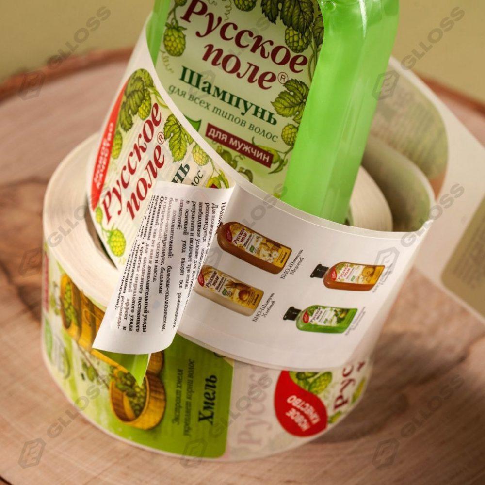 Многослойные этикетки-книжки для шампуня бренда «Русское поле»