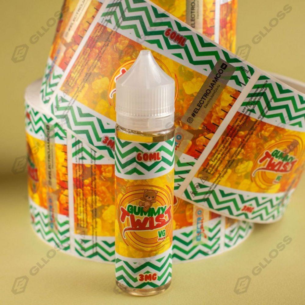 Самоклеящиеся этикетки на жидкости для вейпа Gummy Twist от Electro Jam