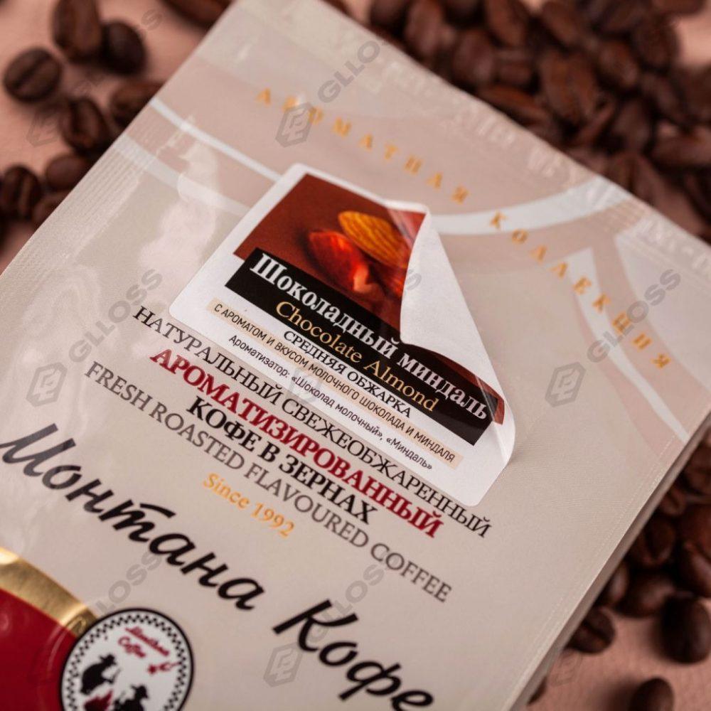 Однослойные стикеры для вкуса «Шоколадный миндаль» на пакеты «Монтана Кофе»