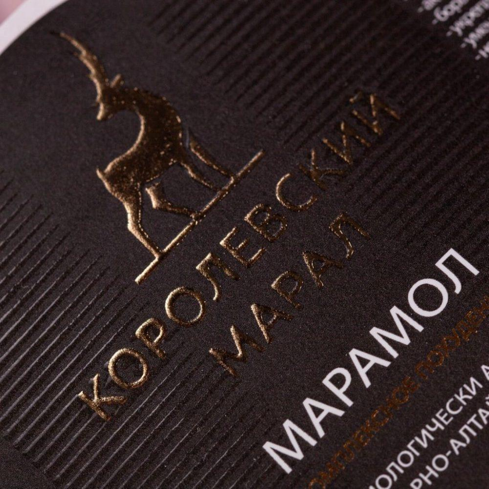 Этикетки с тиснением и 3D-лакированием на биодобавки бренда «Королевский марал»